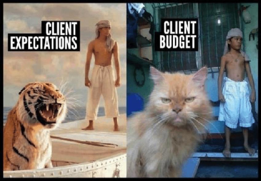 client budget versus client expectations